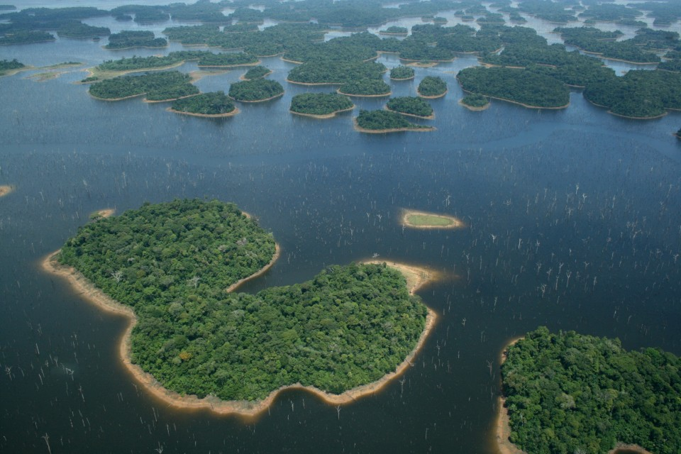 Archipelago of forest islands within the Balbina hydroelectric reservoir, Brazil. Image: C. Peres