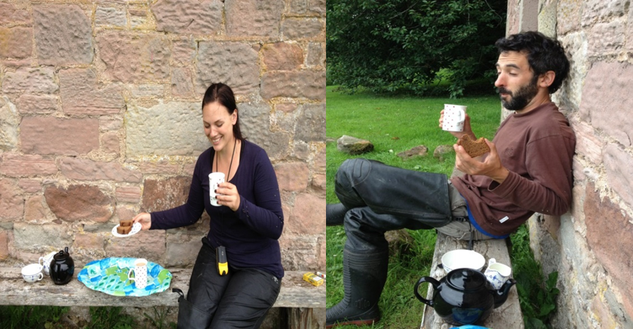 Tea and cake provided by kind cottage Lady on the River Tweed.