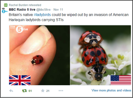 Radio 5live twitter feed: They are not from America!